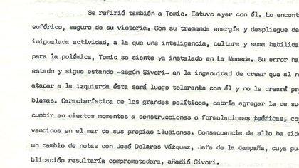 El diputado democristiano Carlos Sívori, presidente de la Comisión de Relaciones Exteriores, traza la personalidad de Tomic, treinta días antes de las elecciones, en la nota N°256 de la embajada argentina en Chile.