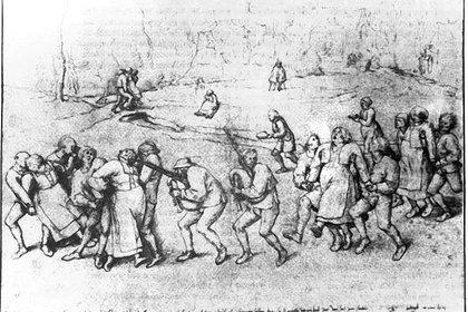 """Dibujo de 1564, de Pieter Brughel """"El viejo"""", llamado """"El baile de San Juan el Bautista"""", en honor a uno de los santos a los que su culpó como responsables de la pandemia de baile"""