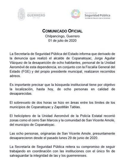 La SSP del Estado de Guerrero informó que personal de la Unidad Aeromóvil, la FGE, y Aguilar Vázquez, sobrevolaron durante dos horas los límites de los municipios de Copanatoyac y Zapotitlán Tablas para la localización de las ocho personas desaparecidas (Foto: @SSPGro)
