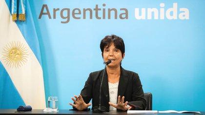 Mercedes Marcó del Pont, ayer, al explicar el reintegro para los jubilados que ganan la mínima