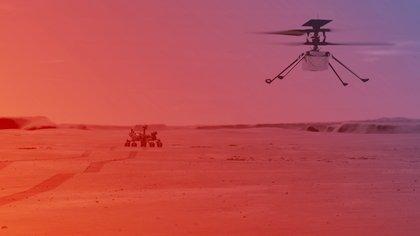 Ilustración cedida este lunes por la NASA que muestra cómo sería un vuelo del helicóptero Ingenuity en Marte. EFE/NASA/JPL-Caltech