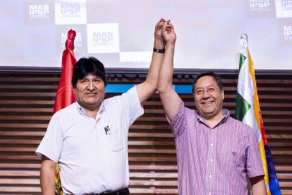 El expresidente de Bolivia Evo Morales y su sucesor Luis Arce (JULIETA FERRARIO / ZUMA PRESS / CONTACTOPHOTO)