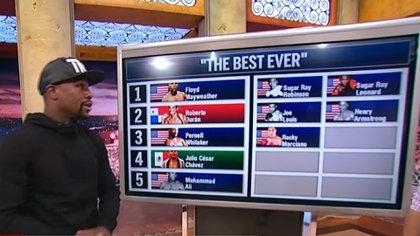 El ranking que armó Mayweather en televisión