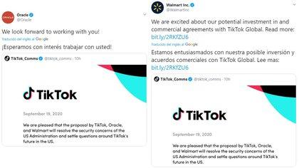 El comunicado conjunto divulgado en las cuentas de Oracle y Walmart