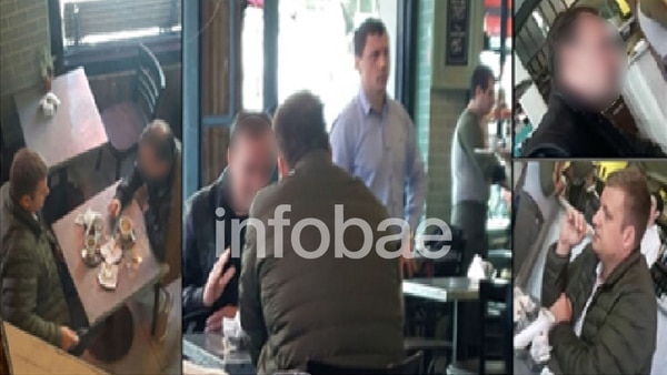 Andrei Kovalchuk junto al policía porteño Iván Blizniouk en un café de Esmeralda y Santa Fe. Octubre de 2017. Imagen de Gendarmería.