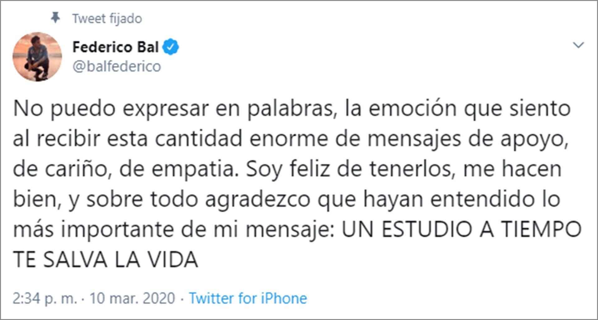 Federico Bal decidió hacer público su diagnóstico por las redes sociales (Foto: Twitter)