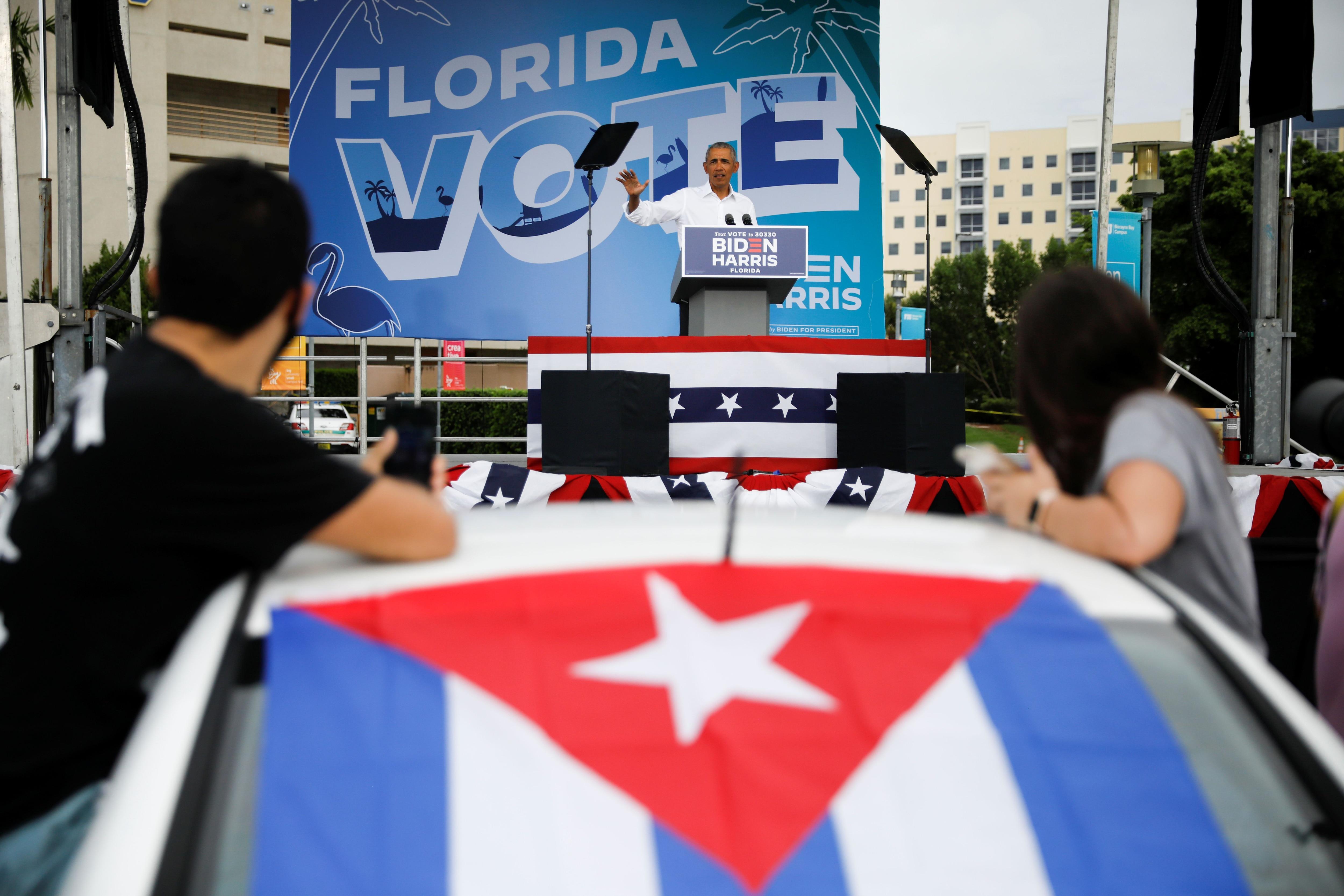 Evento de campaña en Miami, encabezado por Barack Obama (Reuters)