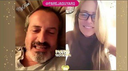 Juan Luis Espasandín (57) y Patricia Schild (47) en una de sus tantas videollamadas diarias. Durante estos meses, un familiar de ella falleció de coronavirus y él no pudo estar a su lado, ni abrazarla.