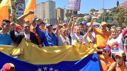 Una de las marchas que pedían la liberación de López