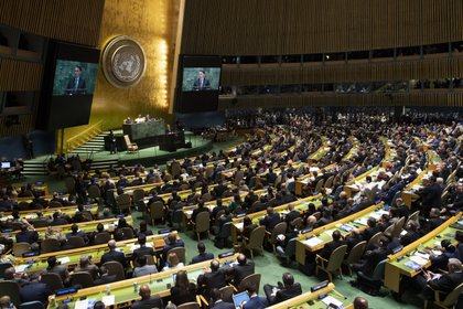 El presidente brasileño Jair Bolsonaro fue uno de los oradores en la Asamblea General de la ONU en septiembre de 2019 (Photo by Don Emmert / AFP)
