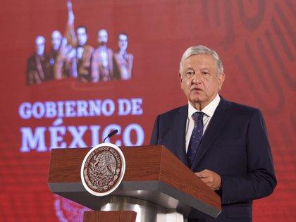 El presidente de México, Andrés Manuel Lopez Obrador, durante la conferencia de prensa en Palacio Nacional donde se anunció la segunda fase de riesgo de contagio COVID-19 (Foto: ANDREA MURCIA/CUARTOSCURO.COM)