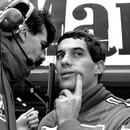 FILE PHOTO: BRAZILIAN RACING DRIVER SENNA TALKS TO MCLAREN TEAM MEMBER DURING FINAL PRACTICE SESSION FOR JAPANESE GRAND PRIX IN SUZUKA. Ayrton Senna of Brazil talks with his McLaren team member during the final practice session for Sunday's Japanese Grand Prix in Suzuka October 29, 1988. Senna grabbed pole position for the Grand Prix race and he will clinch this years driver championship if he wins on Sunday. SCANNED FROM NEGATIVE. REUTERS/Masaharu Hatano/File Photo