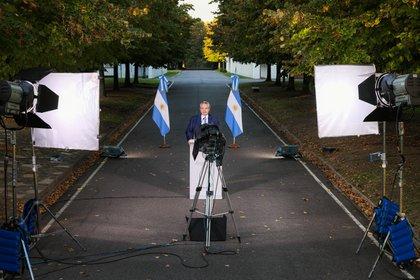 El presidente Alberto Fernández grabó el mensaje en la Quinta de Olivos