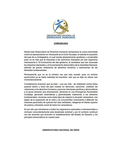 El ONDDHH se pronunció sobre la expulsión de la embajadora de la Unión Europea
