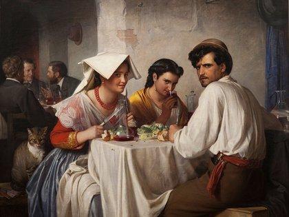 """""""En una hostería romana"""" (1866), de Carl Bloch. Oleo sobre lienzo (148,5 x 177,5 cm), en la Galería Nacional de Dinamarca"""