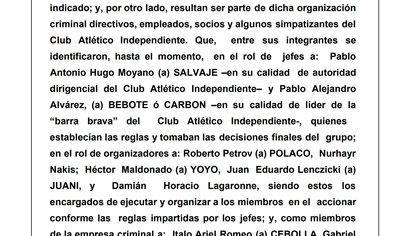 """El escrito del fiscal en el que se refiere a Moyano como alias """"Salvaje"""""""