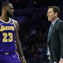 Feb 10, 2019; Philadelphia, PA, USA; Los Angeles Lakers forward LeBron James (23) and head coach Luke Walton talks during the second quarter against the Philadelphia 76ers at Wells Fargo Center. Mandatory Credit: Bill Streicher-USA TODAY Sports