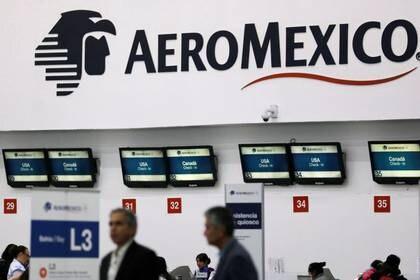 Imagen de archivo. En el interior del Aeropuerto Internacional de la Ciudad de México, se muestra un logotipo de Aeroméxico. 31 de julio de 2018. REUTERS / Carlos Jasso