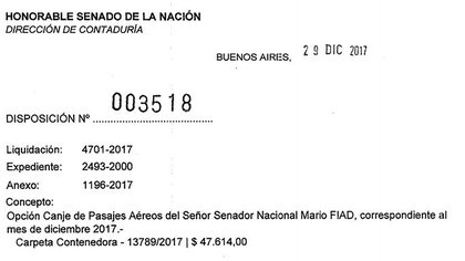 La disposición 3518 de fin de 2017 que canjeó los pasajes aéreos del flamante senador Mario Fiad