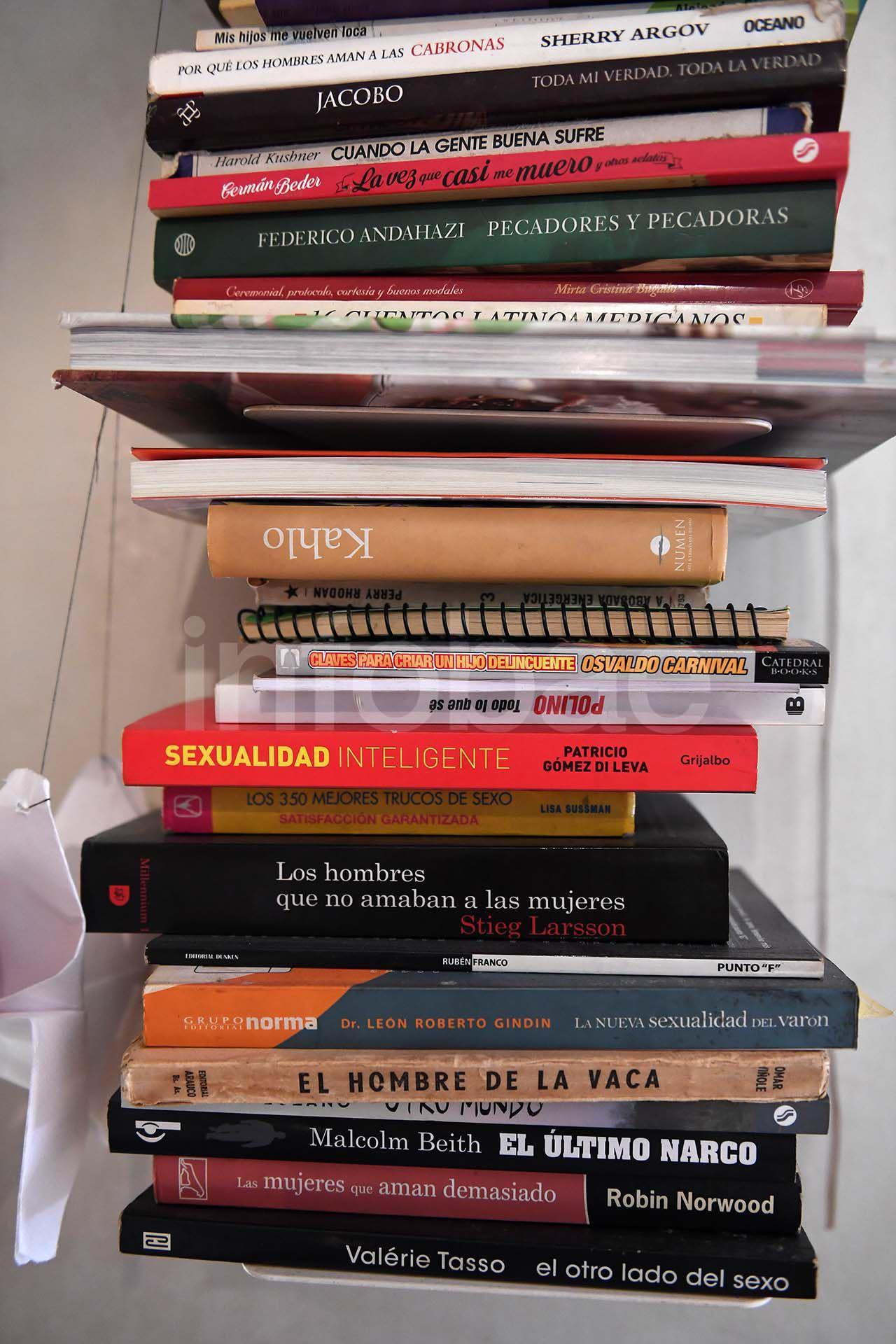 Algunos de los libros que se encuentran en la biblioteca de la conductora