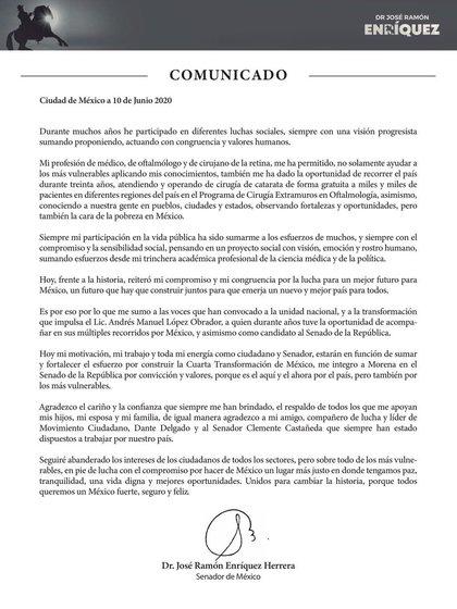 El senador publicó una carta con sus motivos para distanciarse de MC y sumarse a Morena (Foto: Twitter @DrRamonEnriquez)