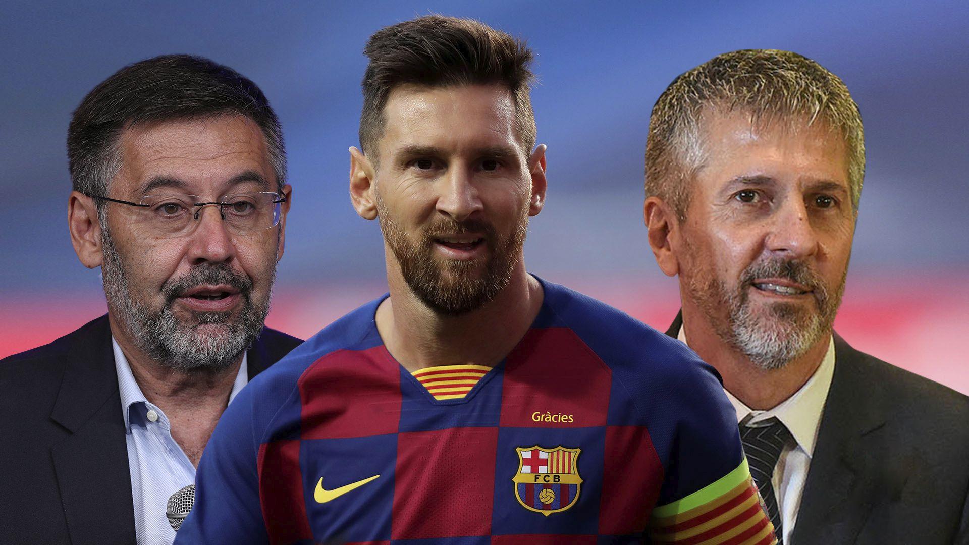 Josep Bartomeu - Lio Messi - Jorge Messi