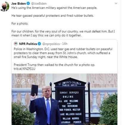 El tuit de Joe Biden contra Trump