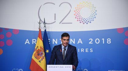 Pedro Sánchez en una conferencia de prensa durante la segunda jornada del G20 en Buenos Aires (Manuel Cortina)