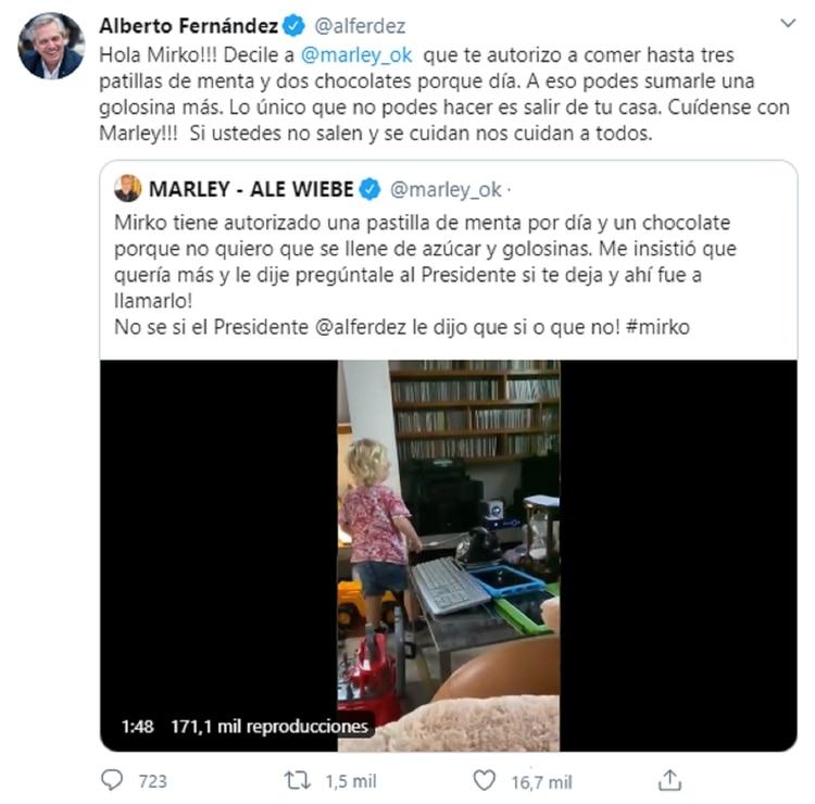 La respuesta de Alberto Fernández a Mirko