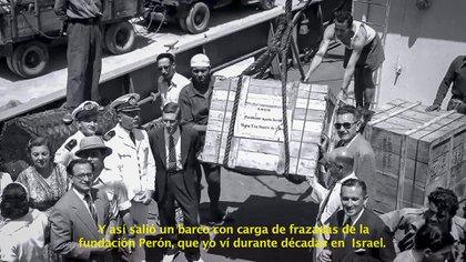 Frazadas de la Fundación Eva Perón embarcadas con destino a Israel: uno de los episodios recordados en el film