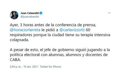 Tuit del ministro de Ambiente, Juan Cabandié