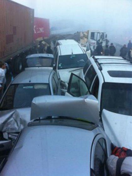 Accidente en ruta 68 en 2011 por densa niebla en la zona Fuente Twitter