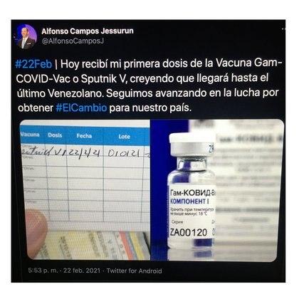 Captura del tuit publicado -y luego borrado- por Campos Jessurun, diputado chavista