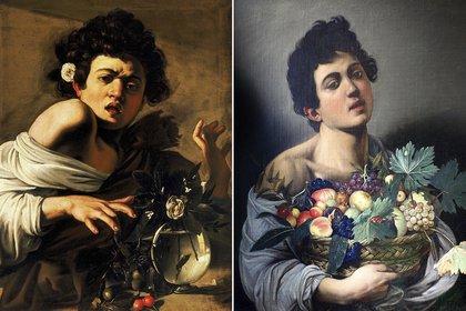 """""""Muchacho mordido por una largartija"""" (1593–1594) en Fundación Roberto Longhi, Florencia, y """"Niño con un cesto de frutas"""" (1593), en Galería Borghese, Roma"""