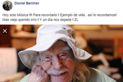 El mensaje del hijo de Max Berliner en las redes sociales para despedir a su padre