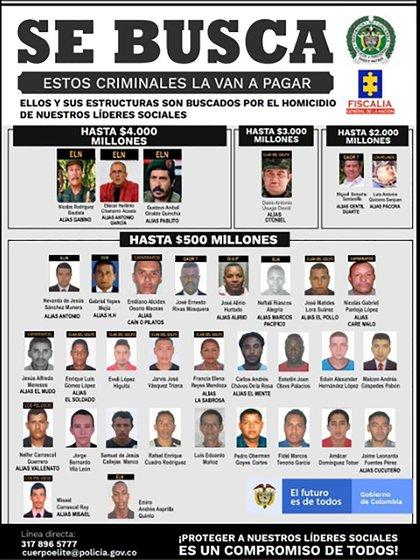 Este es el cartel de los más buscados por asesinatos de líderes sociales publicado por el presidente Iván Duque.