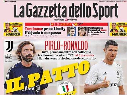 """""""El pacto"""", la portada de La Gazzetta dello Sport sobre el encuentro entre Andrea Pirlo y Cristiano Ronaldo"""