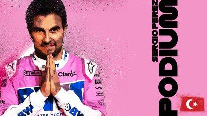 Sergio Pérez logró su primer podio de la temporada y sumó el noveno en su carrera en la Fórmula Uno (Foto: Twitter@F1)