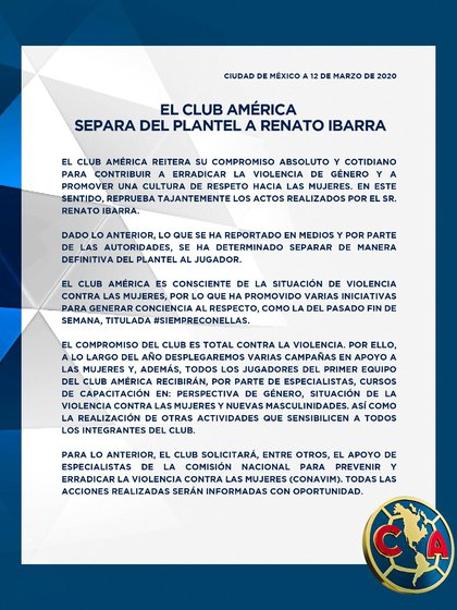 América informó la baja de Renato Ibarra (Foto: Twitter/ @ClubAmerica)
