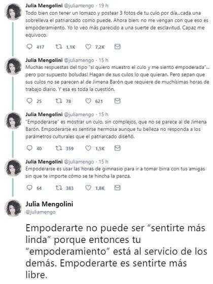 La aclaración de la periodista después de la polémica (Foto: Twitter)