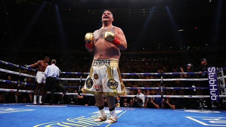Andy Ruiz celebra su victoria ante Anthony Joshua en el cuadrilátero del Madison Square Garden (AFP)