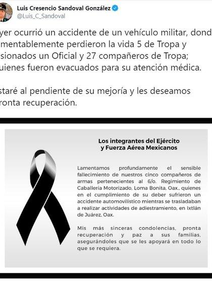 Luis Cresencio Sandoval González, Secretario de la Defensa Nacional (Sedena) publicó un mensaje en redes sociales en donde escribió un mensaje lamentando lo ocurrido con sus compañeros de armas.