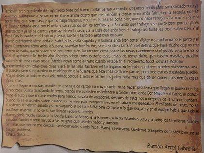 carta Ramón Ángel Cabrera-soldado identificado Malvinas-