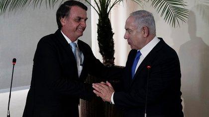 El presidente electo de Brasil, Jair Bolsonaro, junto al primer ministro de Israel Benjamin Netanyahu (Reuters)