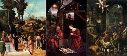 Obras de Giorgione, Savoldo y Tiziano