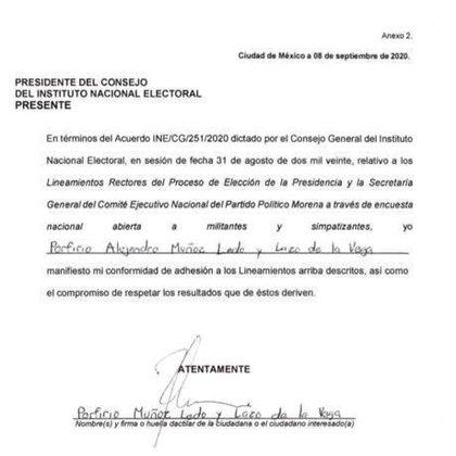 INE mostró el documento que firmaron los candidatos a la dirigencia de Morena en donde avalaron los lineamientos de la encuesta (Foto: Twitter@INEMexico)