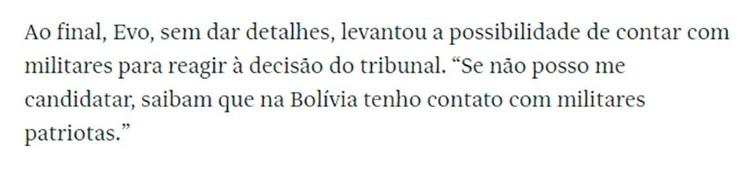 La frase de Evo Morales en la entrevista con Folha de Sao Paulo