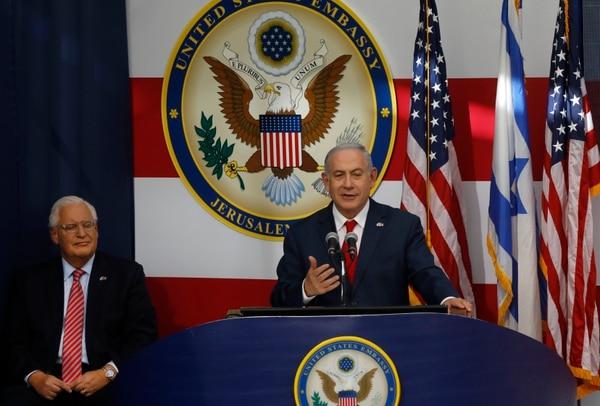 Benjamin Netanyahu, premier de Israel, habla durante la ceremonia de traslado de la Embajada de los Estados Unidos (AFP)