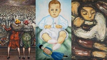 "Obras de: David Alfaro Siqueiros ""Entrega de juguetes"" (1961) – Frida Kahlo ""Retrato de Isolda Pinedo Kahlo"" (1929) y Eduardo Ramirez Villamizar Angel flautista, (s.f)"