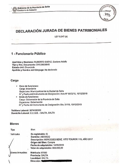 Primera hoja de la DDJJ que presentó el gobernador de Salta, Gustavo Sáenz, con el detalle de sus bienes, que le envió a Infobae.